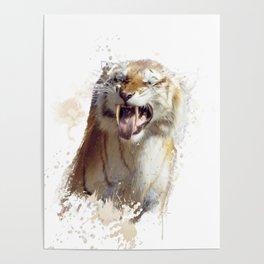 sabertooth tiger portrait watercolor Poster