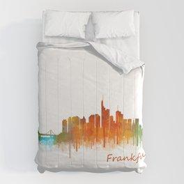 Frankfurt am Main, City Cityscape Skyline watercolor art v2 Comforters