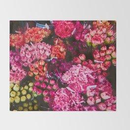 Flower Market in Hong Kong Throw Blanket