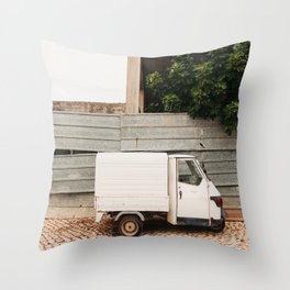 white three-weeled truck parked in a street in Lisbon, Portugal | Photo Print, Travel Photography Europe Throw Pillow