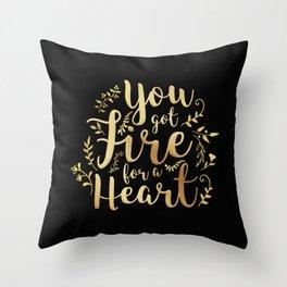 fire for a heart Throw Pillow