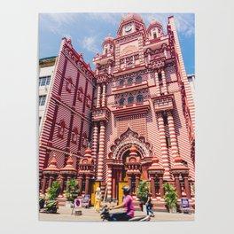 Jami-Ul-Alfar Mosque (Red Mosque) Colombo, Sri Lanka Poster