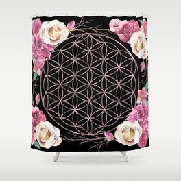 Flower of Life Rose Gold Garden on Black Shower Curtain