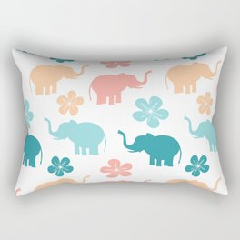 cute colorful pattern with elephants and flowers Rectangular Pillow