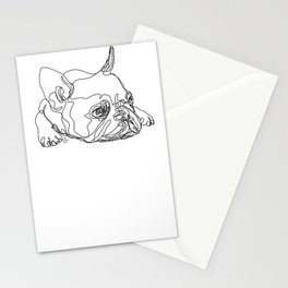 French Bulldog Puppy One Line Drawing Stationery Cards