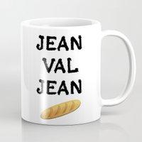 cassandra jean Mugs featuring jean val jean by Bread Sports