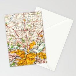 Kansas City vintage old map 1960, offic decoration Stationery Cards