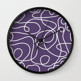 Doodle Line Art | White Lines on Dark Purple Wall Clock