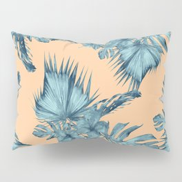Island Love Hibiscus Palm Orange Teal Blue Pillow Sham