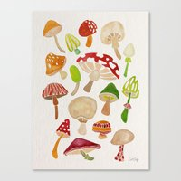mushrooms Canvas Prints featuring Mushrooms by Cat Coquillette