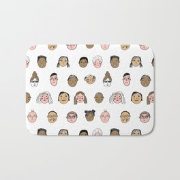 Faces people illustration hand drawn different people all shapes and sizes pattern Bath Mat