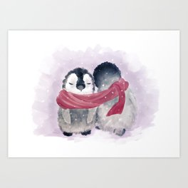 Penguin cuddle Art Print