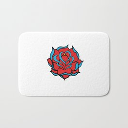 Oldschool Rose Love Bath Mat