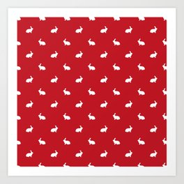 Rabbit silhouette minimal red and white basic pet art bunny rabbits pattern Art Print