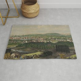 Vintage Pictorial Map of Bridgeport CT (1857) Rug