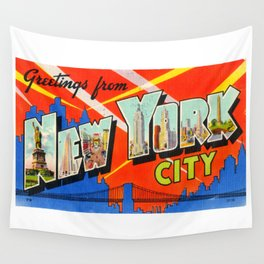 Greetings From New York City Wall Tapestry