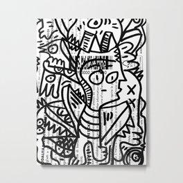 Black and White Street Art Creatures on Italian Train Ticket Metal Print