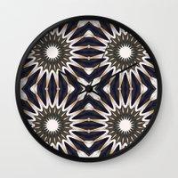 chocolate Wall Clocks featuring Chocolate Flower Mandala Pattern by 2sweet4words Designs