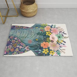 Elephant with flowers on head Rug