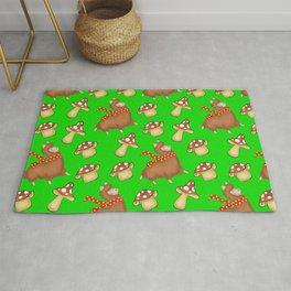 Cute happy llamas and funny little mushrooms green seamless pattern design Rug