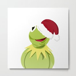 Santa Kermit - The Optimistic Christmas Frog Metal Print