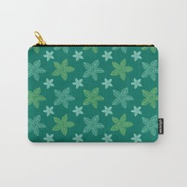 Retro Blue and Green Polynesian Flowers Pattern Carry-All Pouch