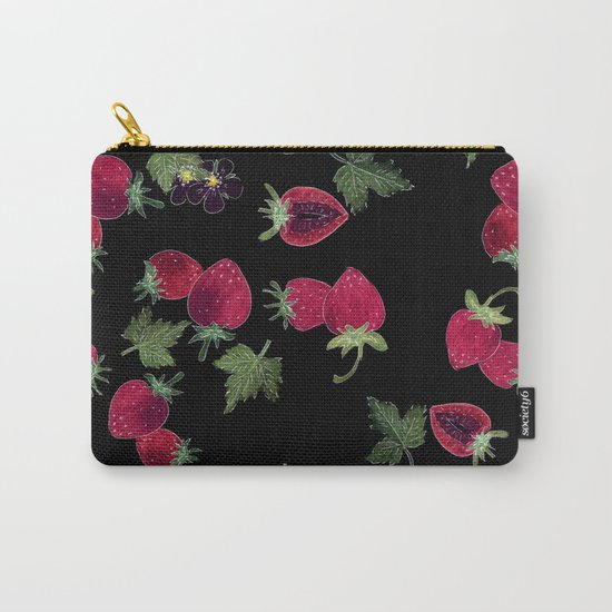 Watercolor. Strawberries on a black background Carry-All Pouch