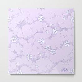 Kumori Nochi Sakura: Purple Metal Print