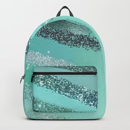 Aquamarine Green Blue Glitter Painted Brushstrokes Backpack