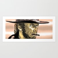 clint eastwood Art Prints featuring Clint Eastwood by HATCHER_DRAWS