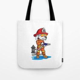 Firefigher Dog Dalmatian Fire Department Present Gift Cartoon Brigade Tote Bag