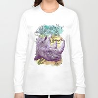 safari Long Sleeve T-shirts featuring Rhino safari by shiha manji