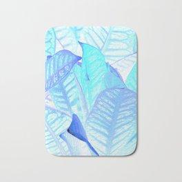 Blue Croton Tropical Leaves Bath Mat