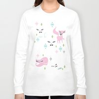 kittens Long Sleeve T-shirts featuring Swanky Kittens by Miss Fluff
