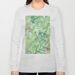 Hand painted watercolor green pink tropical leaves floral Long Sleeve T-shirt