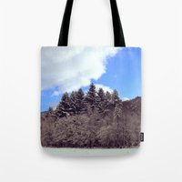 forrest Tote Bags featuring Christmas forrest by Shitmonkey