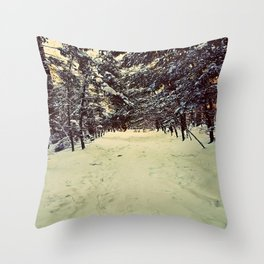 Wintery Snowshoe Hike Throw Pillow