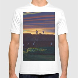 Dan Wards Hay Stack, Heartland Sunset landscape painting by Rockwell Kent T-shirt