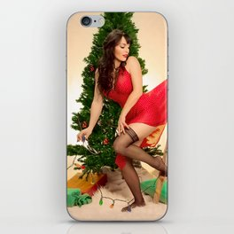 """Tree Trouble"" - The Playful Pinup - Christmas Tree Pin-up Girl by Maxwell H. Johnson iPhone Skin"