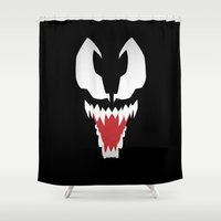 venom Shower Curtains featuring Minimalist Venom by Maxvtis