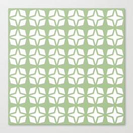 Mid Century Modern Star Pattern Sage Green 552 Canvas Print