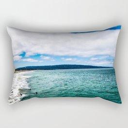 Blue Skies Ocean Waves Rectangular Pillow