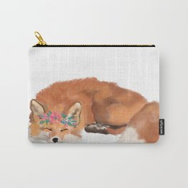 Fox, flower crown, fox art, fox watercolor Carry-All Pouch