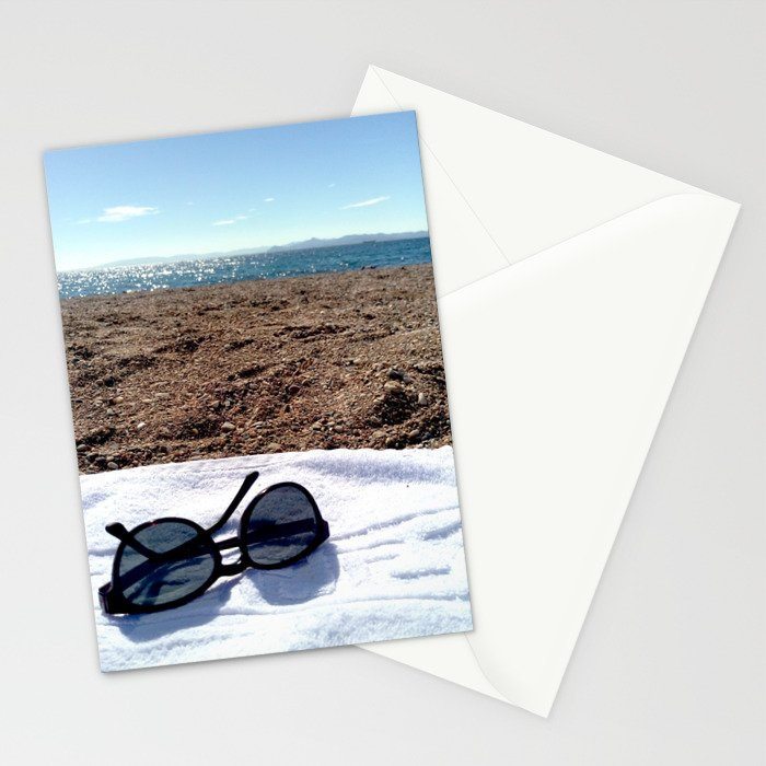 see, sun glasses, calm , beach , summer Stationery Cards