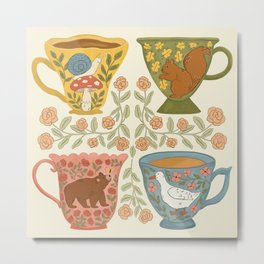 Floral Animal Teacups Metal Print