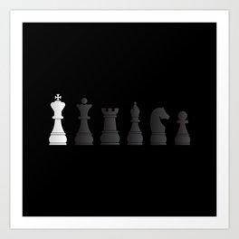 All black one white chess pieces Art Print