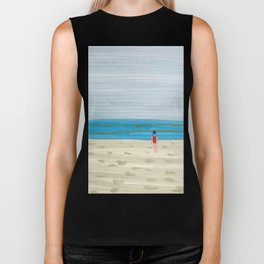 Swimmer on a Winter Beach Biker Tank