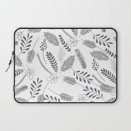 Modern gray hand painted leaves berries pattern Laptop Sleeve