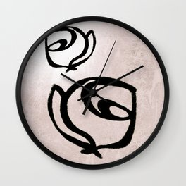 Flowers, Mother-Daughter, Pink Wall Clock