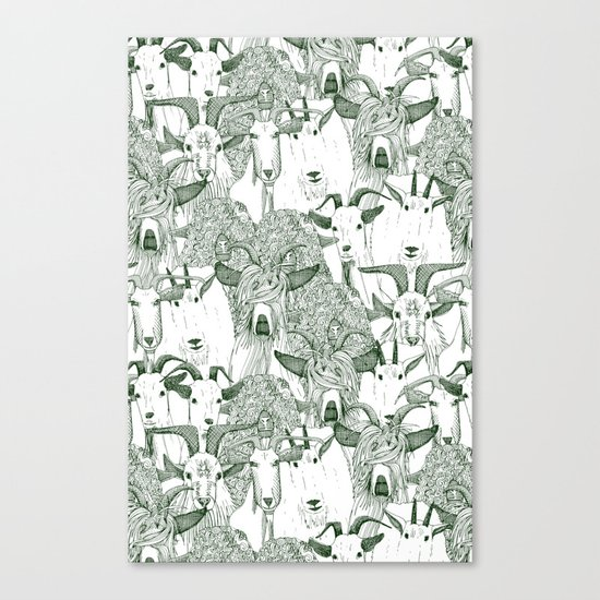 just goats dark green Canvas Print